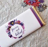 24 Personalized floral purple wedding favor wrappers