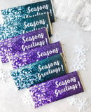 24 Teal Christmas party favors, holiday party favors, Christmas candy bar wrappers, Seasons Greetings, christmas party favours,