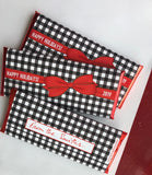 24 Gingham Christmas party favors, holiday party favors, gingham party favors, Christmas candy, Seasons Greetings, christmas party favours,