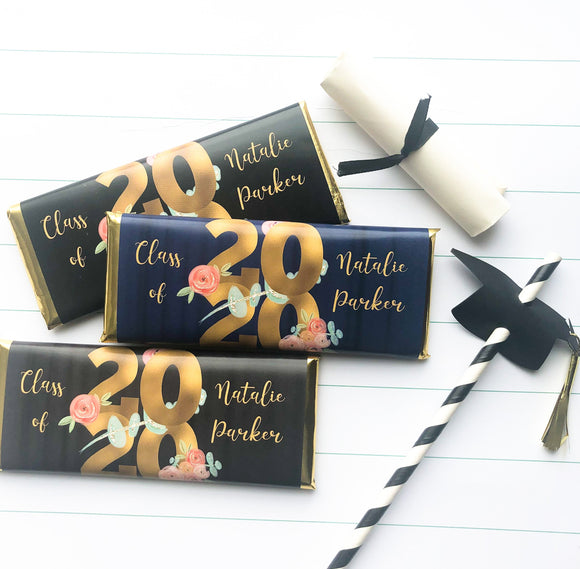 Personalized floral Graduation party favors, Class of 2020 favors