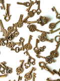 30 mini vintage keys, keys for jewelry making, keys for crafts, key charms, dull gold