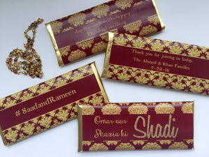 Burgundy gold Indian wedding favor