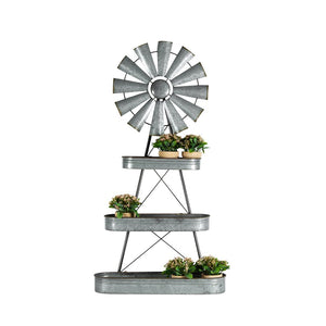 Galvanised Windmill With Oval Shelves