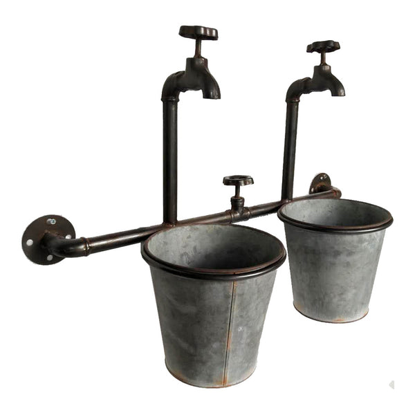 VINTAGE BUCKETS & TAPS WALL PLANTER