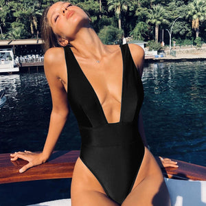 Deep V One Piece Backless Swimsuit