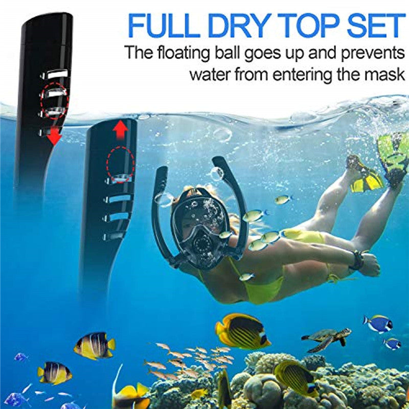 Adults - Double Breath Tube Swimming / Diving Mask - Anti-Fog Anti-Leak