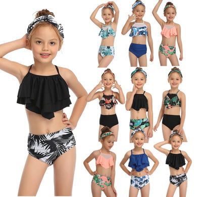 Girl's Fashionable & Sassy Ruffle Two Piece Swimsuit
