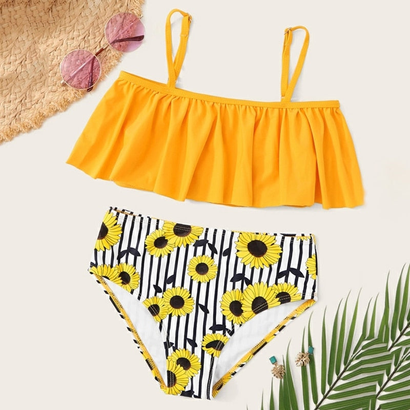 Girls Leaf Print Ruffle Bikini Set Two-piece Swimsuit