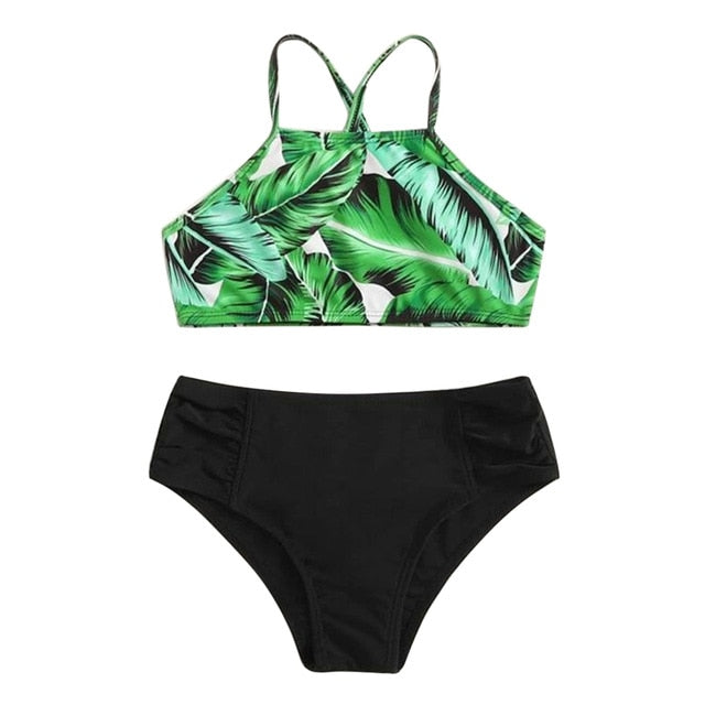 Girls Tropical Criss Cross Bikini Set Swimsuit