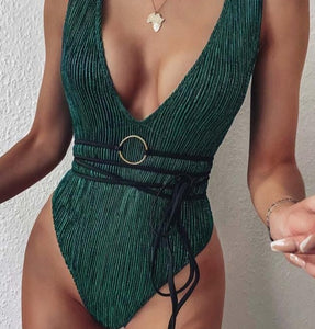 Sexy Shiny Wrap Around Deep V Shaped One Piece Swimsuit