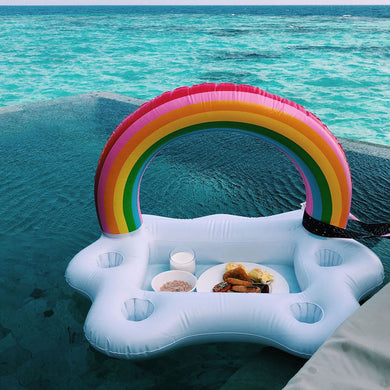 Inflatable Rainbow Pool Float w/Cup Holders & Bar Entertainer Tray