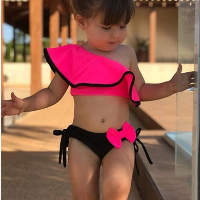 Kid's Fashionable Ruffle One Shoulder Two Piece Swimsuit