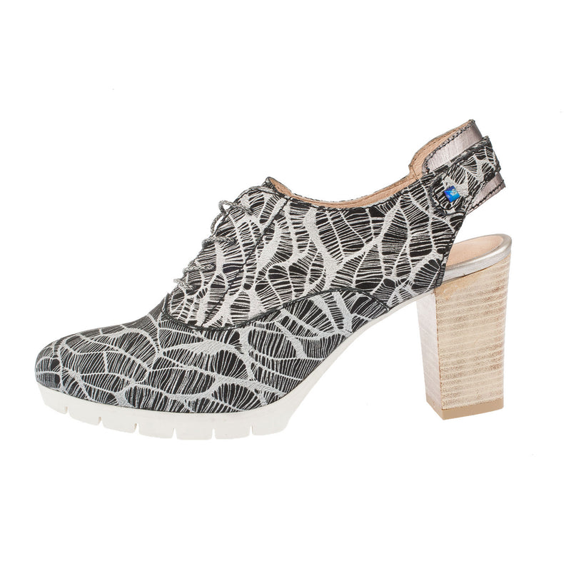 MJUS Women's Leather Printed Lace Up Heeled Shoe (127103)