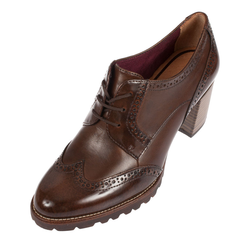 TAMARIS Women's Leather/Synthetic Heel Brogue Shoe