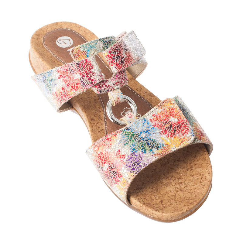 Women's Leather Multi-Coloured Flower Sandal