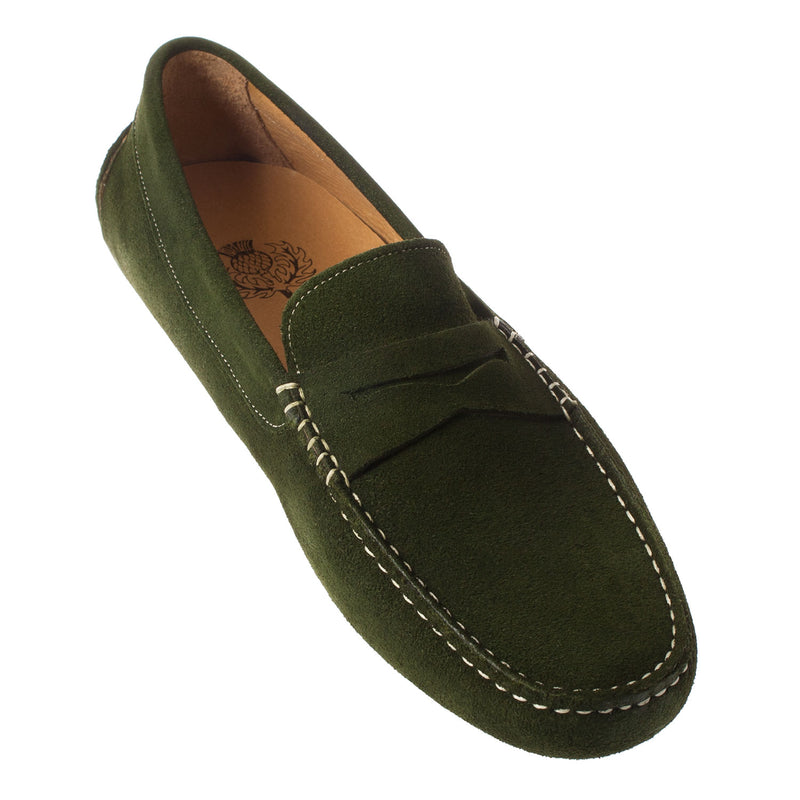 THISTLE SHOES Men's Suede Driving Moccasin Shoe