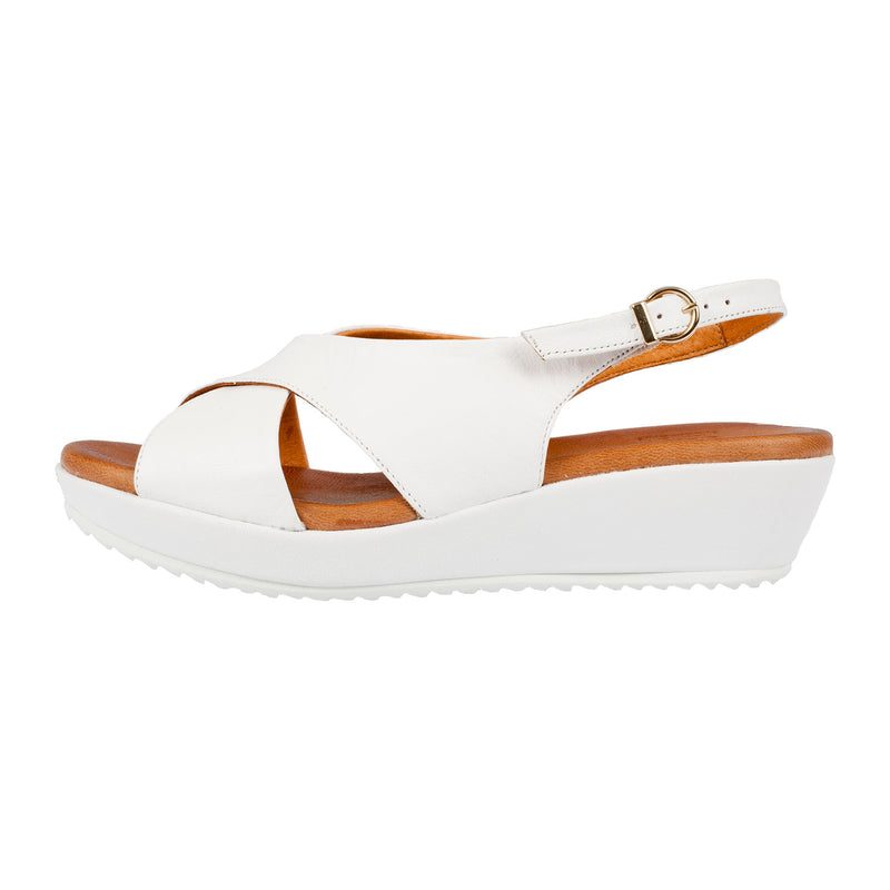 RIVA Women's Ambra Leather White Strapped Sandal