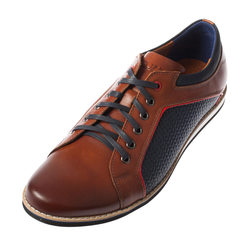 LACUZZO Men's Casual Leather Sneaker Lace Up Shoe