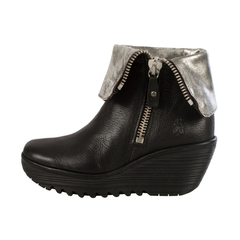 FLY LONDON Women's Yex Leather Side Zip Wedge Ankle Boot