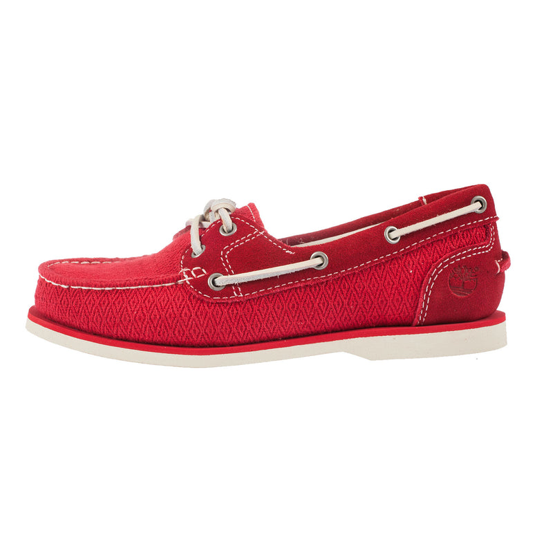 Timberland Women's Classic Boat Red Leather and Fabric Shoe 9A14LV)