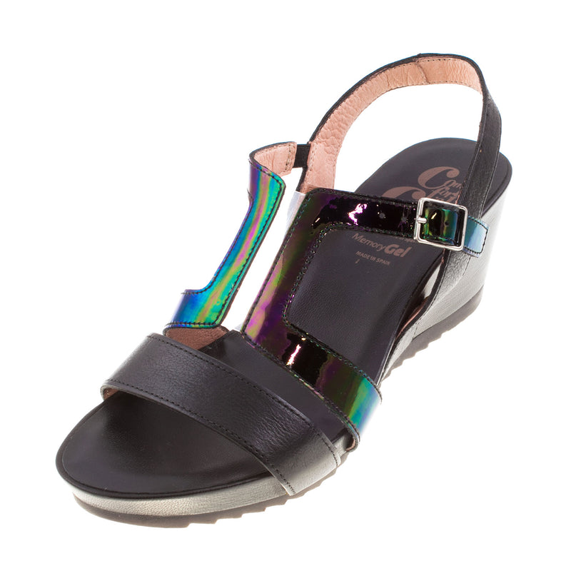 Women's D-7606 Leather Buckle Wedge Sandal