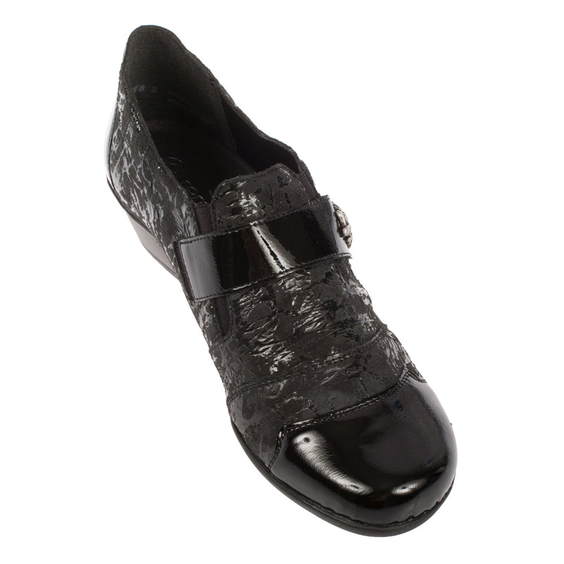 Women's Leather Slip On Heel Shoe