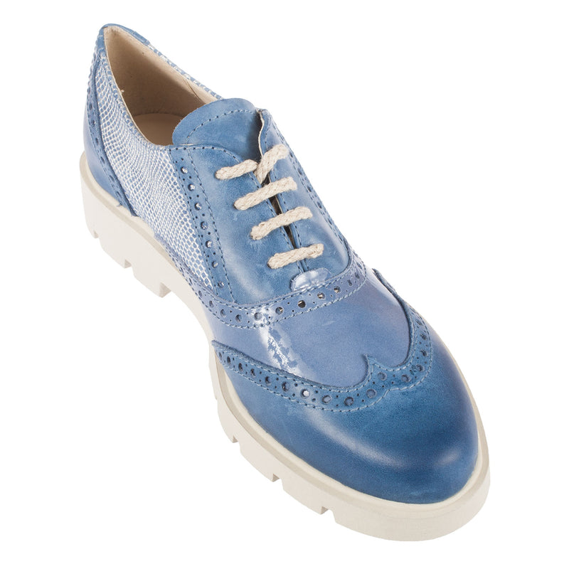 THE FLEXX Women's Lunatic Cotton Leather Lace Up Brogue Shoe