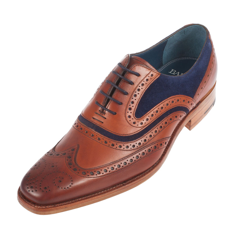 BARKER Men's Mcclean Leather/Suede Shoe F Fit Lace Up Brogue