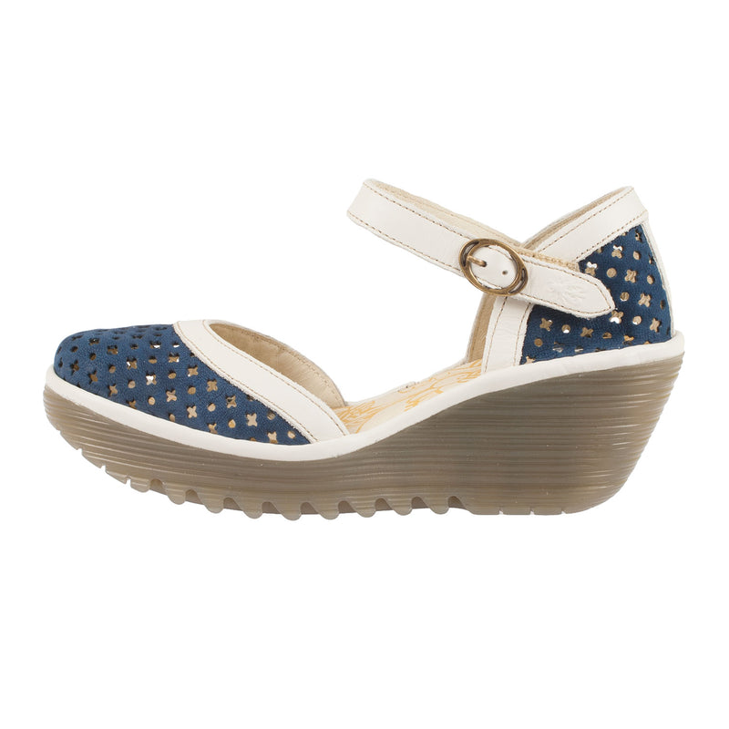 FLY LONDON Women's Yadu732fly Perf Leather Wedge Sandal