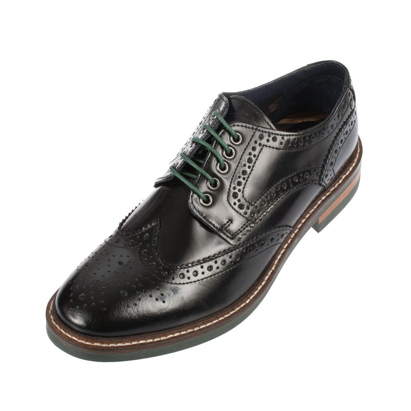 Base London Men's Woburn Brogue Black Leather Shoe (PI06012)