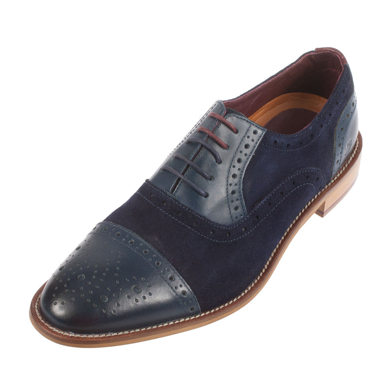 LONDON BROGUE Men's Wilson Leather/Suede Oxford Shoe