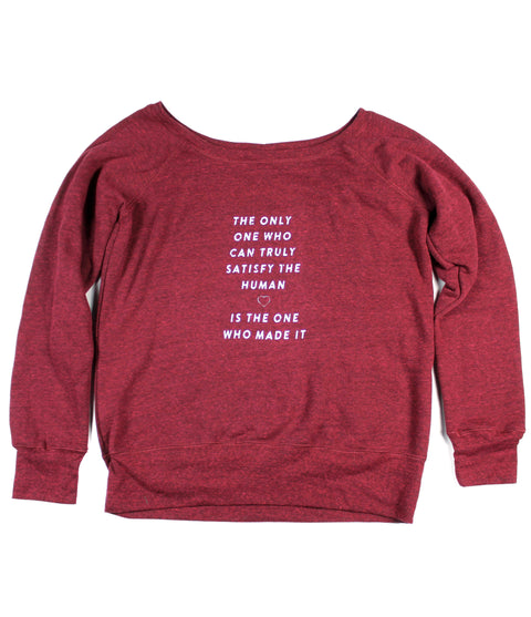 TRULY SATISFY WIDE NECK CARDINAL RED CREWNECK SWEATSHIRT