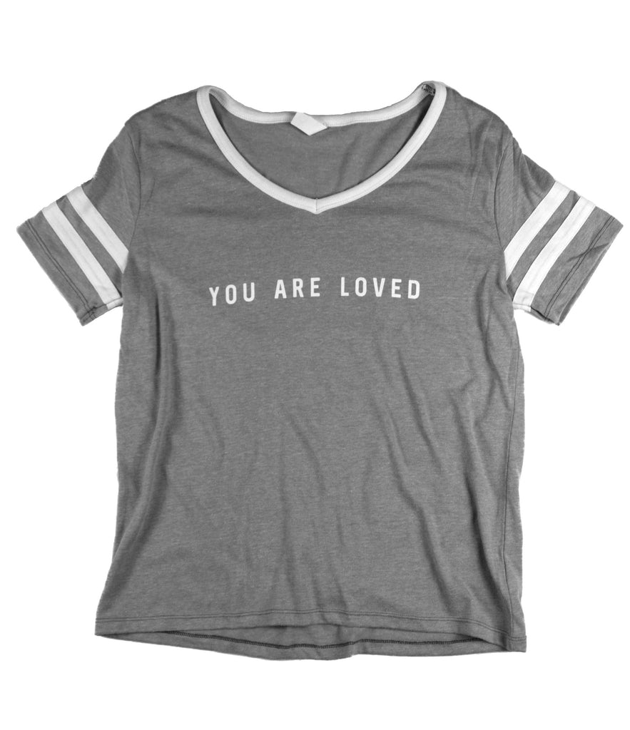 YOU ARE LOVED GREY/WHITE WOMEN'S VARSITY LOOSE FIT T-SHIRT