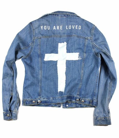 YOU ARE LOVED CROSS DISTRESSED DENIM JACKET