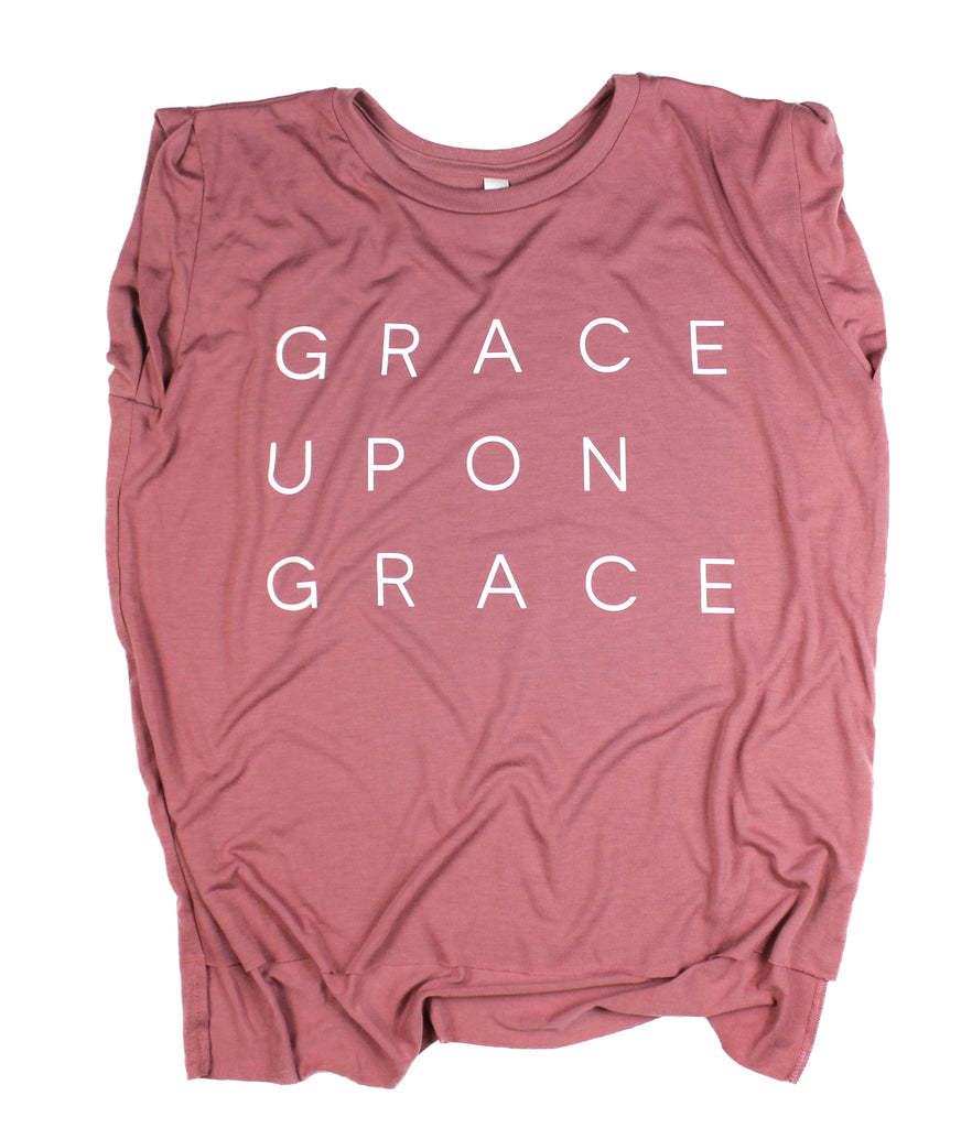 GRACE UPON GRACE MAUVE WOMEN'S ROLLED CUFF MUSCLE T-SHIRT