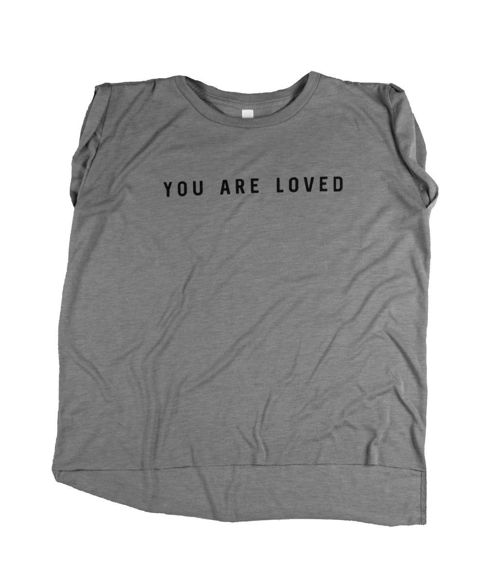 YOU ARE LOVED CONCRETE WOMEN'S ROLLED CUFF MUSCLE T-SHIRT