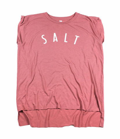 SALT + LIGHT MAUVE WOMEN'S ROLLED CUFF MUSCLE T-SHIRT