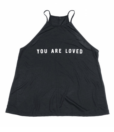 YOU ARE LOVED BLACK WOMEN'S FLOWY HIGH NECK TANK