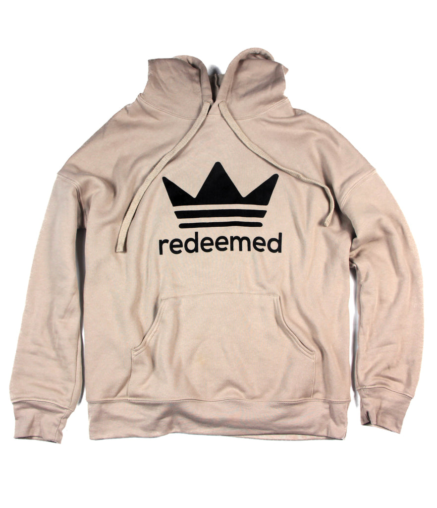 REDEEMED BY THE KING TAN SPONGE FLEECE HOODIE