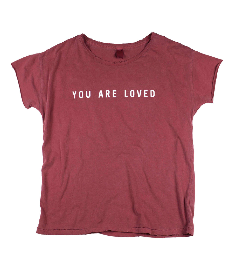 YOU ARE LOVED RED PIGMENT DYED DISTRESSED WOMEN'S RELAXED T-SHIRT