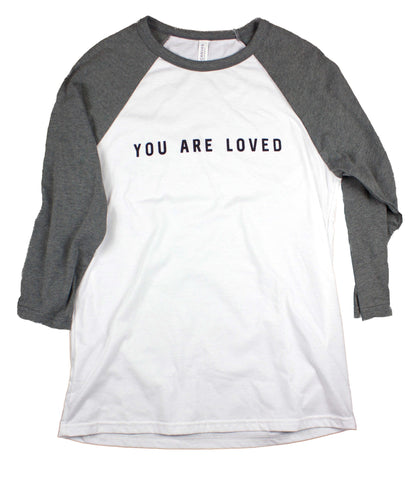 YOU ARE LOVED WHITE/DEEP HEATHER RAGLAN BASEBALL T-SHIRT
