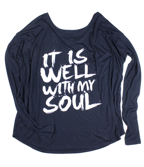 IT IS WELL MIDNIGHT FLOWY LONG-SLEEVE