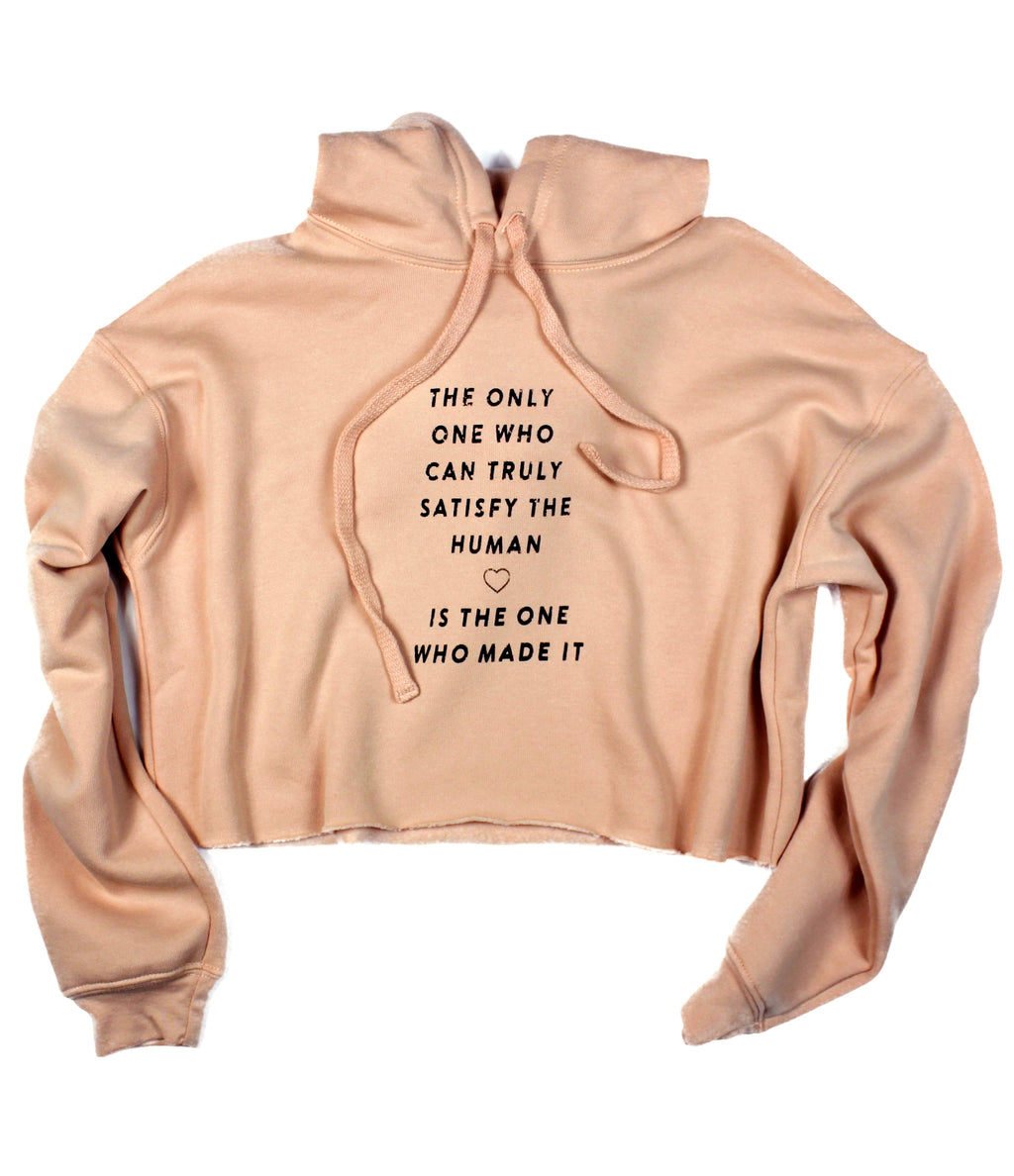 TRULY SATISFY ♡ PEACH CROPPED HOODIE