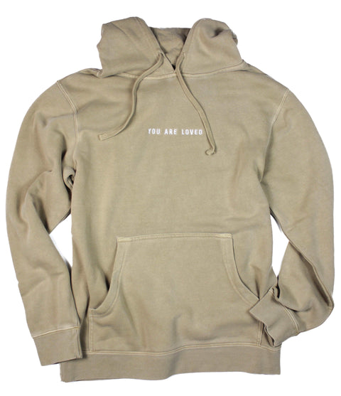 YOU ARE LOVED EMBROIDERED SANDSTONE HOODIE