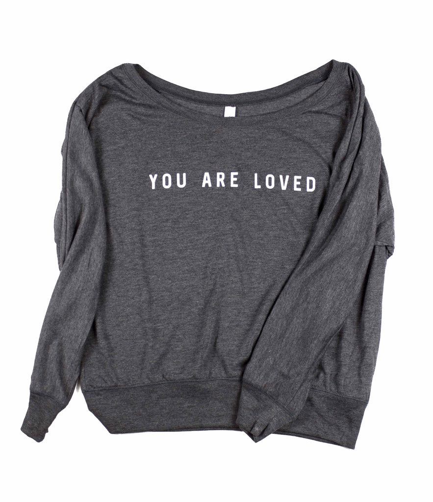 YOU ARE LOVED WOMEN'S GREY OFF THE SHOULDER FLOWY LONG-SLEEVE