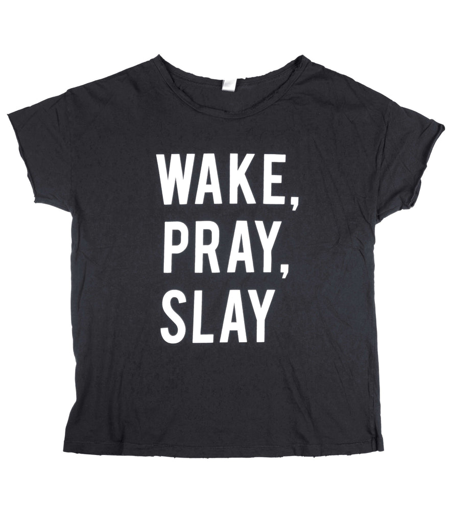 WAKE, PRAY, SLAY BLACK DISTRESSED WOMEN'S FITTED T-SHIRT