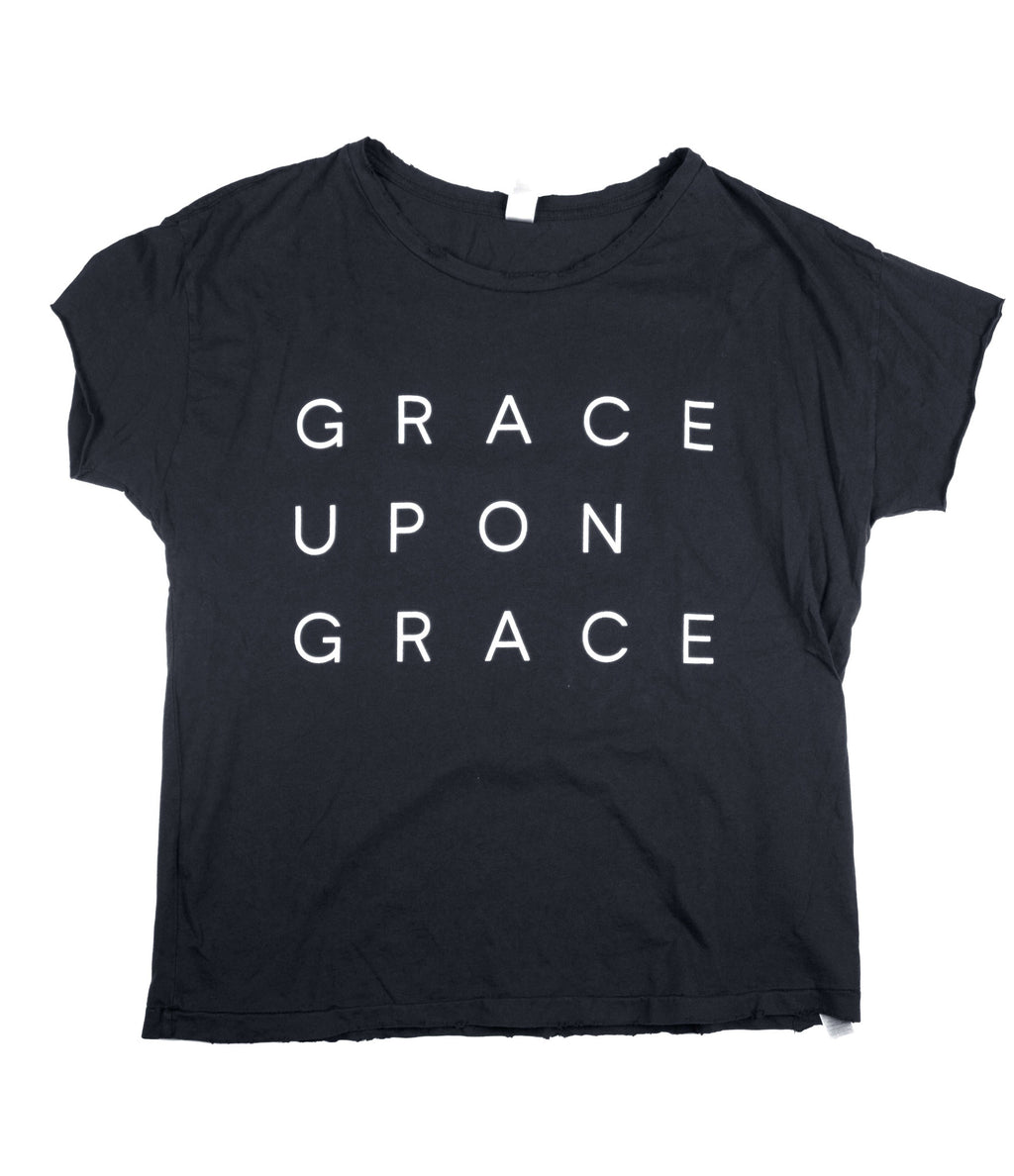 GRACE UPON GRACE BLACK DISTRESSED WOMEN'S FITTED T-SHIRT