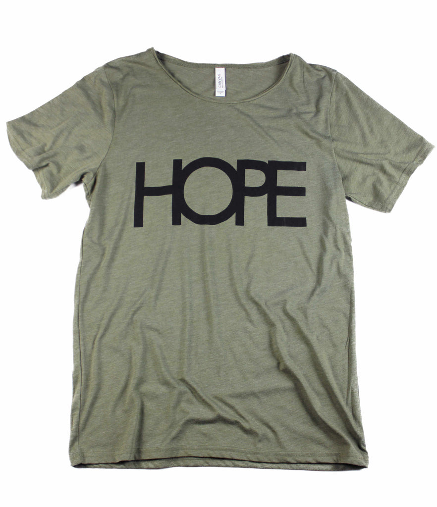 HOPE OLIVE RAW NECK T-SHIRT