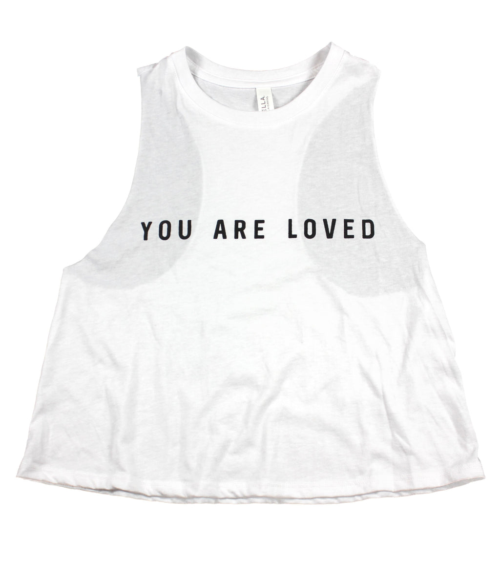 YOU ARE LOVED WHITE WOMEN'S RACERBACK CROPPED TANK