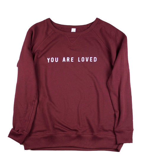 YOU ARE LOVED VINTAGE CRANBERRY WOMEN'S FRENCH TERRY SWEATSHIRT